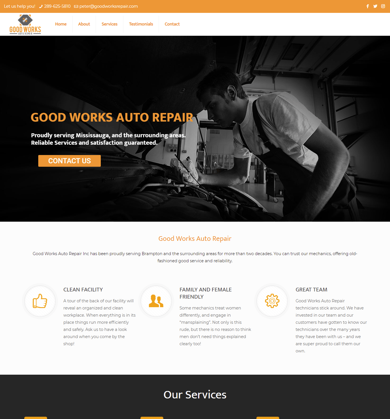Good Works Auto Repair Website Portfolio